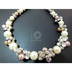 Collar Perlas y Cristal